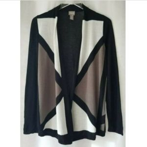 Chico's size 0 open front black/white/tan cardigan